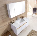 De muur zette het Moderne Stevige Houten Kabinet van de Ijdelheid van de Badkamers (op ACS1-L43)