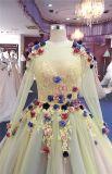 Robes de soirée formelles de bal d'étudiants de long de chemise de jaune usager de fleur