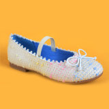 Der elastischen Kinder flach kleiden oben Mädchen-Prinzessin Shoes Blue Pink