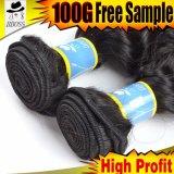 深い波のブラジルの人間の毛髪の織り方の製品の加工されていないバージンのブラジルの人間の毛髪