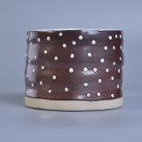 Supporti di candela di ceramica lustrati decorativi del punto per la cera profumata