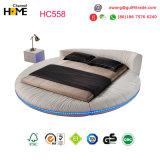2017 Size Round Bedroom Furniture (HC558)最も普及した白革のベッド王