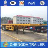 acoplado del transporte de contenedores del cuello de cisne de la base plana de los 40FT para los carros