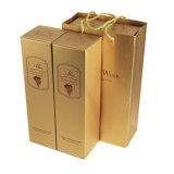 Caixa de papel para embalagem de vinho único com chapa de ouro Stampping