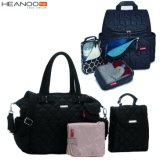 Black OEM Travel Mummy Designer Tote Changing Nappy Baby Diaper Bag Backpack
