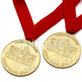 La seule médaille blanc nommée gravée personnalisée de laser plaquée par or fait sur commande en métal avec le collant d'impression insère le logo