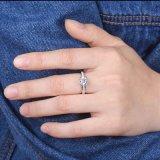 De Halfedelsteen Solitare 925 van Moissanite Echte Zilveren Ring