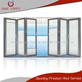 Puerta del panel de cristal plegable de aluminio de la Multi-Hoja de la puerta con los obturadores