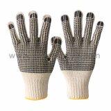 Gants de coton tricot chaîne avec des points sur les deux côtés