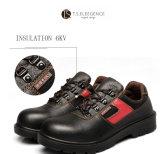 Черный кожаный чехол из стали с поддержкой TOE безопасности рабочая обувь для мужчин