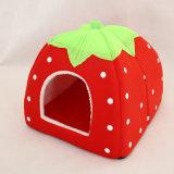 연약한 고양이 집 Foldable 표범 딸기 개 침대