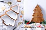 Nuovo tipo cassetto di legno dell'albero di Natale con il piattino di ceramica