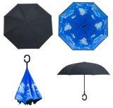 高品質Cの形のハンドルの二重層の逆の日傘
