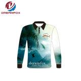 Chemises 100% de modèle fait sur commande de logo de sublimation de polyester longues pêchant le Jersey