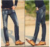 Neue Form und gebrochene waschende Jeans mit Stickerei für Mann (HDMJ0007-17)