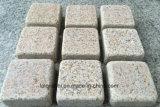 Adoquín barato de la piedra del granito del amarillo de la caída con el acabamiento flameado/partido para la calzada