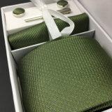 Laço do presente da seda de 100% e jogo tecidos jacquard do quadrado do bolso