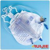 El bolso lujoso disponible médico aprobado del drenaje de la orina con T-Golpea ligeramente el enchufe