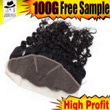 frontal de lacet de 10A Brazilian13*3 avec les cheveux humains de 100%