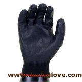Перчатки 100% PU ладони черноты вкладыша полиэфира работая