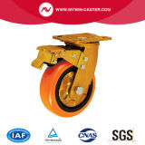 Örtlich festgelegte Platten-industrielles Fußrolle PU-Hochleistungsrad