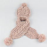 Kabel 2 van de Winter van de Meisjes van de Jongens van de Kinderen van de Baby van jonge geitjes Unisex-2PC de Vastgestelde Vastgestelde Sjaal van de Hoed van de Sjaal van Beanie van de Draai (SK413S)