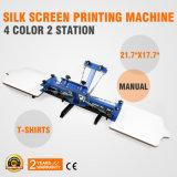 4 kleur 2 de Machine van de Druk van het Onderzoek van de Zijde van de Post Screenprint de Printer van het Scherm van de Pers