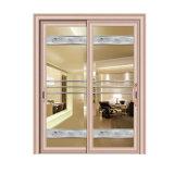 Puerta deslizante de aluminio del vidrio Tempered del doble del diseño moderno