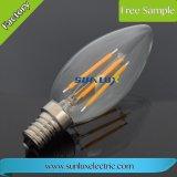 Bulbo claro extravagante decorativo do filamento do diodo emissor de luz C35 da lâmpada E14 4W-8W da vela de China