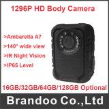 Macchina fotografica chiara portata corpo di applicazione di legge di IR della mini videocamera portatile di GPS Ambarella A7 HD 1296p della polizia 140 gradi