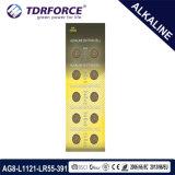 батарея клетки AG5/Lr754 кнопки Mercury 1.5V 0.00% свободно алкалическая для вахты
