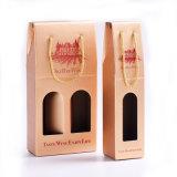 Logo Hot Stamping portable Folding Double-Bouteille / Une bouteille Papier Kraft Bouteille de vin Boîtes d'emballage