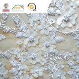Empfindliches Spitze-Gewebe der weißen Blumen-3D, neuester Entwurf 2017 C10034