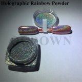 La poussière argentée de chrome de colorant d'arc-en-ciel de poudre de scintillement de clou de laser pour la poudre olographe de manucure