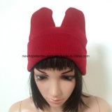 耳を搭載する100%のアクリルの方法蛍光編まれた帽子