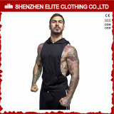 Black Muscle Fit Zip-sleeveless Hoodie com capuz de ginástica (ELTHSJ-1078)