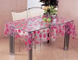 Caraterística impermeável impressa PVC nova de Oilproof do Tablecloth transparente do projeto