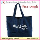 Sacs à main bleus d'emballage de livre d'emballage de toile de grand traitement