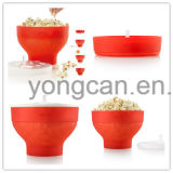 Food Grade Platinum Silicone Material Folding Microwave-Safe Popcorn Container Bowl