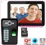 9inch видеоий цвета Doorphone опознавания 900tvl фингерпринта пароля записи RFID