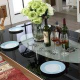 Estilo lujosa real ajustable de acero inoxidable de oro cuadrado de vidrio mesa de comedor para bodas