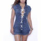 Мода для женщин повседневный деним порванный жгут Jumpsuits блуза
