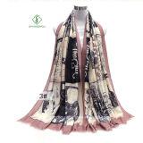 2017 señora de la manera mantón de la bufanda con Inglés Noticias papel impreso