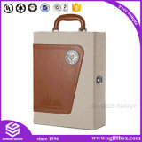 Custom Design PU Leather Wine Box com ferramentas de garrafa