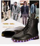 British Fashion High Quality Leather Hommes Femmes Martin Boots Chaussures LED pour adultes