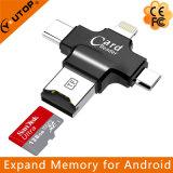 4 em 1 leitor de cartão multifusos TF para iPhone Lightning + Type-C + Micro USB + USB (YT-R006)