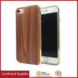 プラスiPhone 7/7のための携帯電話の箱を電気めっきする新しい木の穀物様式TPUの携帯電話の箱超薄いTPU