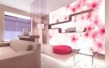 3Dピンクの花および白いリップの形の油絵