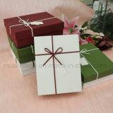 Rectángulo de regalo de encargo decorativo del papel del cumpleaños de la Navidad de la impresión con la tapa