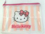 Saco de fecho de PVC Impresso Hello Kitty para acessórios de cosméticos de embalagem